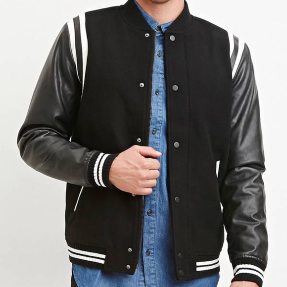 Forever 21 mens varsity bomber faux leather jacket NWT